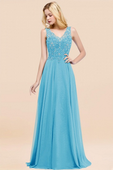 BMbridal Affordable Lace V-Neck Navy Bridesmaid Dresses With Appliques_24