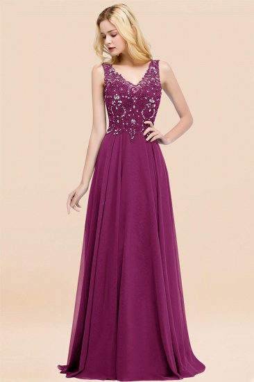 BMbridal Affordable Lace V-Neck Navy Bridesmaid Dresses With Appliques_42