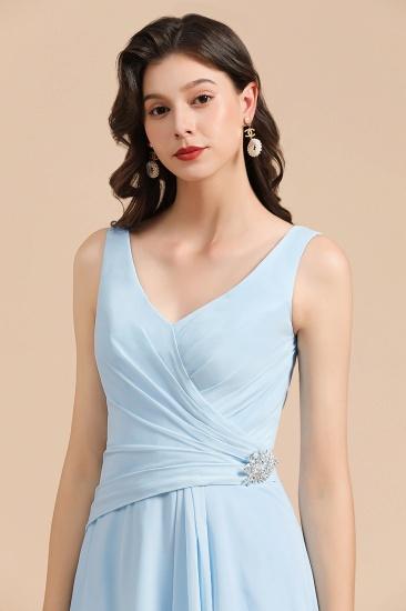 BMbridal Sky Blue Chiffon Long Bridesmaid Dress Ruched_8