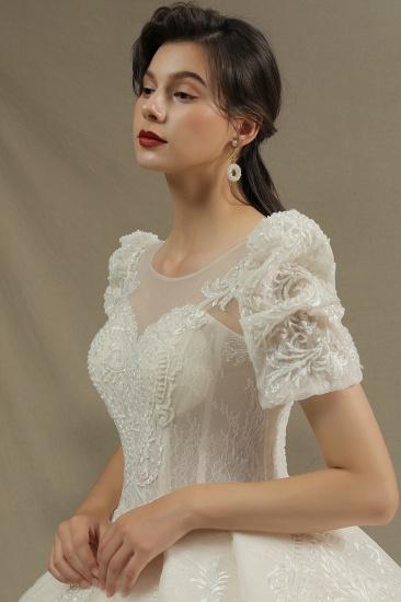 BMbridal Glamorous Short Sleeve Lace Ball Gown Wedding Dress_7