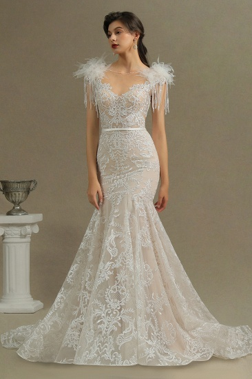 BMbridal Scoop Lace Mermaid Wedding Dress With Feather_3