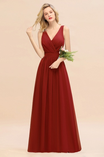 BMbridal Affordable V-Neck Ruffle Long Grape Chiffon Bridesmaid Dress with Bow_48