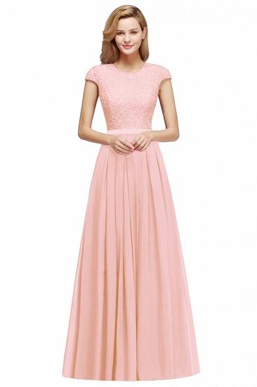 BMbridal A-line Jewel Short Sleeves Chiffon Lace Bridesmaid Dress_1