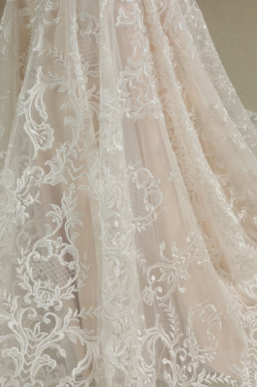 BMbridal Scoop Lace Mermaid Wedding Dress With Feather_7