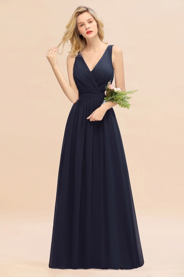 BMbridal Affordable V-Neck Ruffle Long Grape Chiffon Bridesmaid Dress with Bow_28