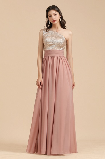 BMbridal One Shoulder Sequins Dusty Rose Bridesmaid Dress