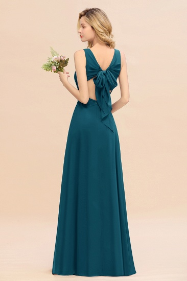 BMbridal Affordable V-Neck Ruffle Long Grape Chiffon Bridesmaid Dress with Bow_27
