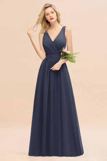 BMbridal Affordable V-Neck Ruffle Long Grape Chiffon Bridesmaid Dress with Bow_39