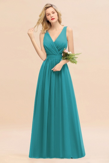 BMbridal Affordable V-Neck Ruffle Long Grape Chiffon Bridesmaid Dress with Bow_32