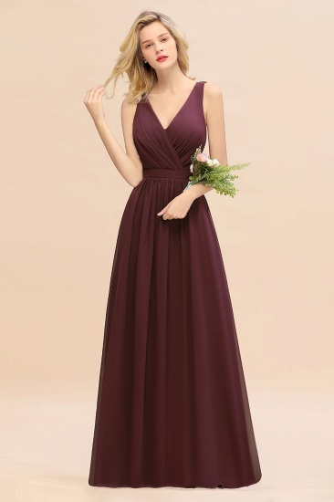 BMbridal Affordable V-Neck Ruffle Long Grape Chiffon Bridesmaid Dress with Bow_47