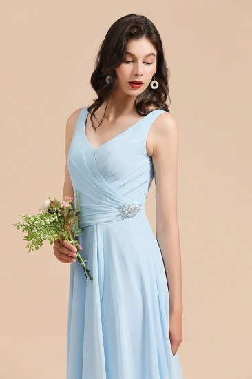 BMbridal Sky Blue Chiffon Long Bridesmaid Dress Ruched_7
