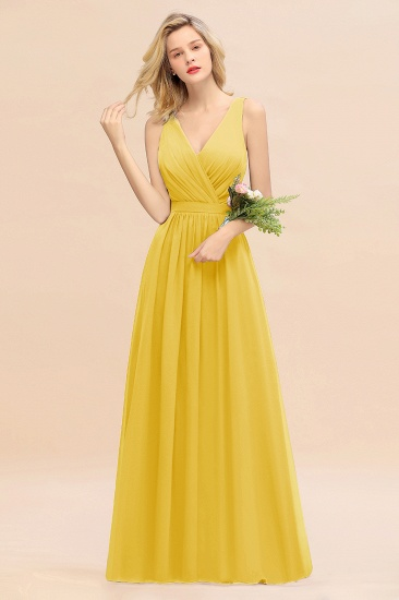 BMbridal Affordable V-Neck Ruffle Long Grape Chiffon Bridesmaid Dress with Bow_17