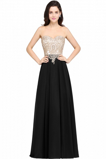 BMbridal Sheer Tulle A-line Chiffon Beads Lace Appliques Sleeveless Long Evening Dress_4