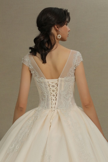 BMbridal Cap Sleeves Lace Ball Gown Wedding Scoop Neck_8