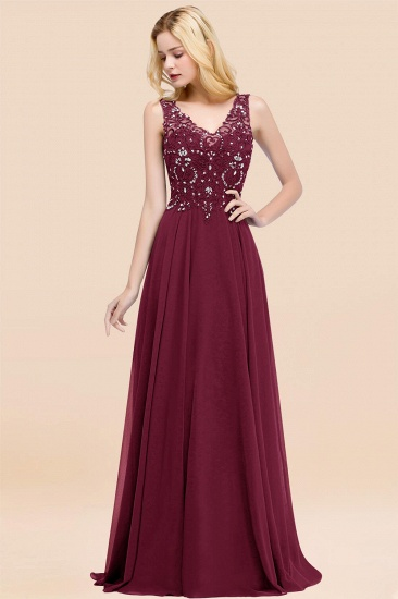 BMbridal Affordable Lace V-Neck Navy Bridesmaid Dresses With Appliques_44