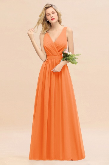 BMbridal Affordable V-Neck Ruffle Long Grape Chiffon Bridesmaid Dress with Bow_15