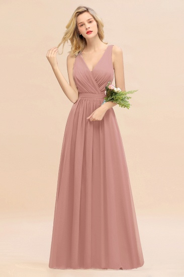 BMbridal Affordable V-Neck Ruffle Long Grape Chiffon Bridesmaid Dress with Bow_50