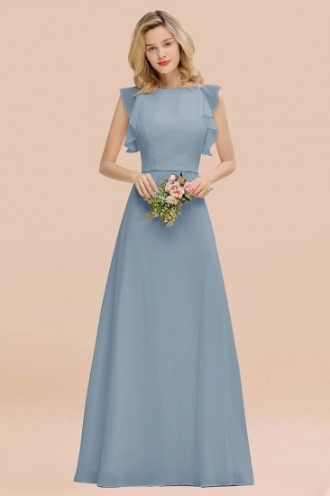 BMbridal Simple Jewel Draped Sleeves Blushing Pink Bridesmaid Dress Online_40