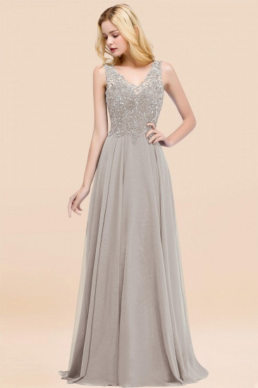 BMbridal Affordable Lace V-Neck Navy Bridesmaid Dresses With Appliques_30