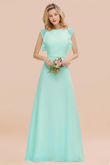 BMbridal Simple Jewel Draped Sleeves Blushing Pink Bridesmaid Dress Online_36