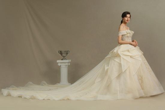 BMbridal Off-the-Shoulder Princess Wedding Dress With Lace Appliques_6