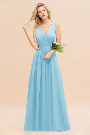 BMbridal Affordable V-Neck Ruffle Long Grape Chiffon Bridesmaid Dress with Bow_23