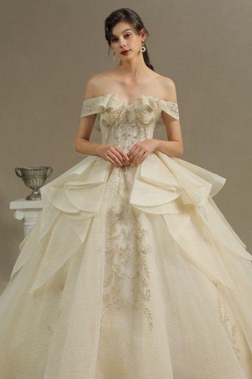 BMbridal Off-the-Shoulder Princess Wedding Dress With Lace Appliques_4