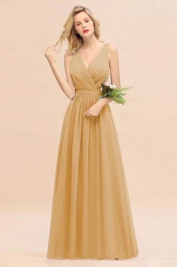 BMbridal Affordable V-Neck Ruffle Long Grape Chiffon Bridesmaid Dress with Bow_13