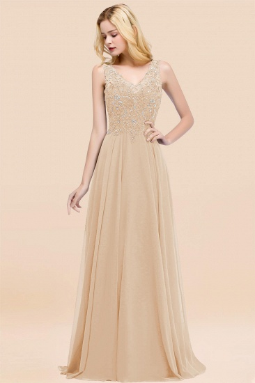 BMbridal Affordable Lace V-Neck Navy Bridesmaid Dresses With Appliques_14