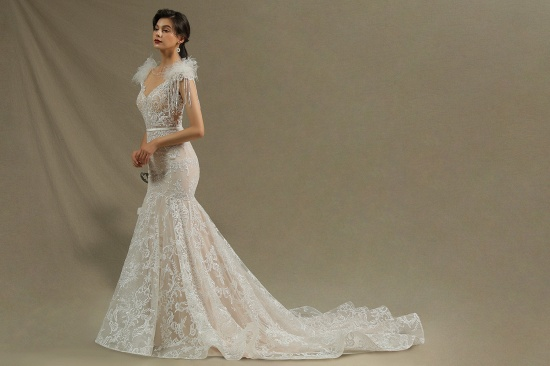BMbridal Scoop Lace Mermaid Wedding Dress With Feather_6