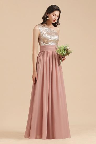 BMbridal One Shoulder Sequins Dusty Rose Bridesmaid Dress_6
