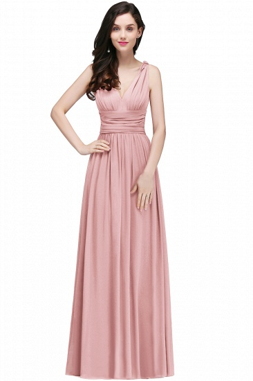 BMbridal Affordable Chiffon V-Neck Burgundy Bridesmaid Dress with Ruffle In Stock_2