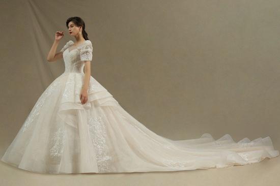 BMbridal Glamorous Short Sleeve Lace Ball Gown Wedding Dress_4