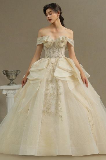 BMbridal Off-the-Shoulder Princess Wedding Dress With Lace Appliques_3