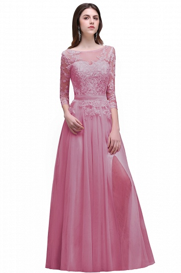 BMbridal Lace Appliques Split Long Tulle Prom Dress_1