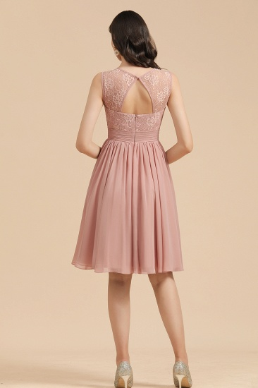BMbridal Short Lace Dusty Rose Junior Bridesmaid Dress_3