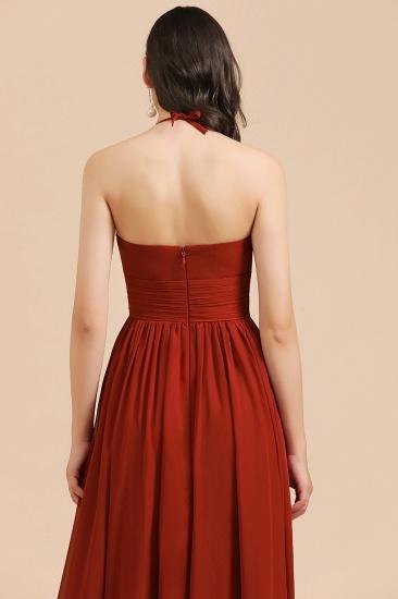 BMbridal Rust Halter Long Chiffon Bridesmaid Dress On Sale_10