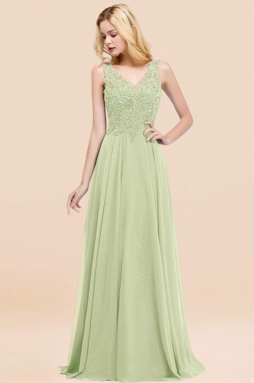BMbridal Affordable Lace V-Neck Navy Bridesmaid Dresses With Appliques_35