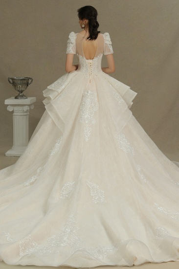 BMbridal Glamorous Short Sleeve Lace Ball Gown Wedding Dress_2