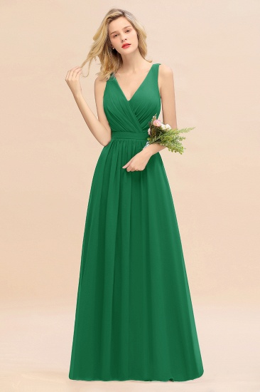BMbridal Affordable V-Neck Ruffle Long Grape Chiffon Bridesmaid Dress with Bow_49
