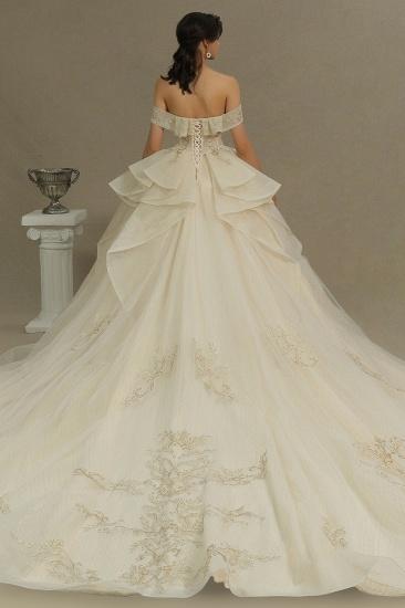 BMbridal Off-the-Shoulder Princess Wedding Dress With Lace Appliques_2