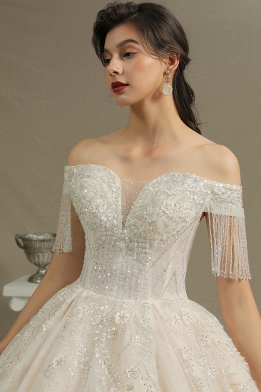 BMbridal Off-the-Shoulder Tassels Ball Gown Wedding Dress With Beads_7