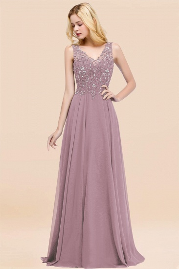 BMbridal Affordable Lace V-Neck Navy Bridesmaid Dresses With Appliques_43