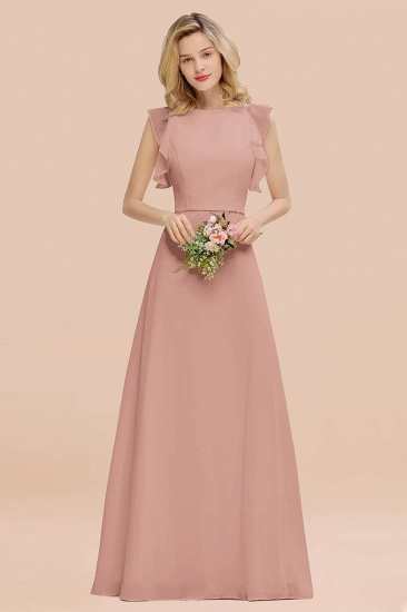 BMbridal Simple Jewel Draped Sleeves Blushing Pink Bridesmaid Dress Online_6