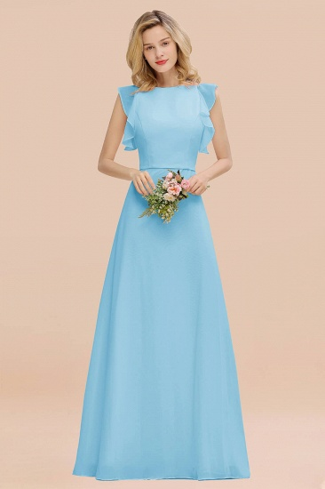 BMbridal Simple Jewel Draped Sleeves Blushing Pink Bridesmaid Dress Online_23