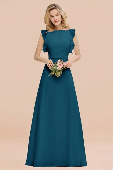 BMbridal Simple Jewel Draped Sleeves Blushing Pink Bridesmaid Dress Online_27