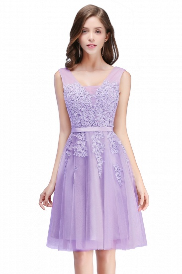 BMbridal A-line Knee-length Tulle Prom Dress with Appliques_5