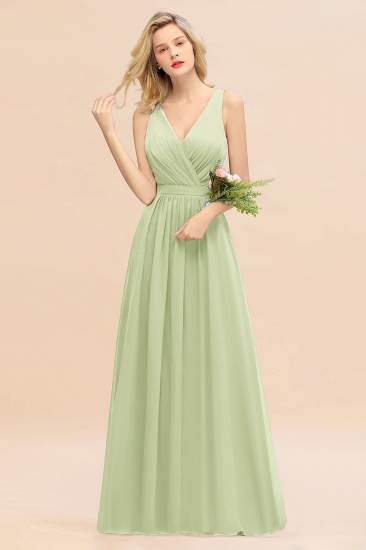 BMbridal Affordable V-Neck Ruffle Long Grape Chiffon Bridesmaid Dress with Bow_35