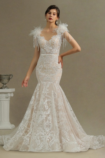 BMbridal Scoop Lace Mermaid Wedding Dress With Feather