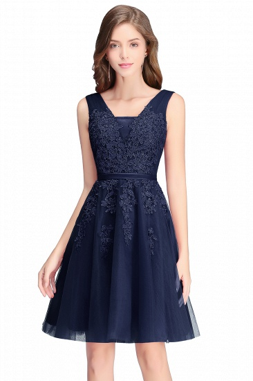 BMbridal A-line Knee-length Tulle Prom Dress with Appliques_6